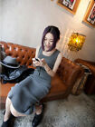 Women Fashion Casual Slim Vest dress Stretch Knit Cotton Long dress CA WB