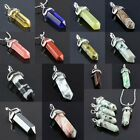 Gemstone Crystal Hexagonal Prism Healing Pointed Silver Charms Pendant Jewelry