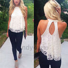 Fashion Womens Sexy Lace Crochet Sleeveless Vest Casual Tops T Shirt Blouse Tank