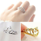 Hot Chic Fashion Inlaid Rhinestones Hollow Heart Love Crown Ring Gifts New