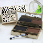2 Colors Eyebrow Powder Shading Kit Palette Brush Cosmetic Makeup Leopard Case