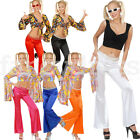 Ladies 60s 70s Bright Bell Bottom Flared Flower Power Trousers Disco Fancy Dress