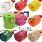 2M Natural Jute Hessian Burlap Ribbon Rustic Weddings Belt Strap Craft Floristry