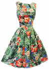 New Rosa Rosa VTG 1940's 50's style Hawaiian Hibiscus Floral Summer Swing Dress