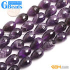 Drop Smooth Faceted Purple Amethyst Gemstone Beads Free Shipping String 15""