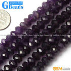 "Roundel Faceted Gemstone Amethyst Stone Beads Strand 15""Jewelry Making Beads"