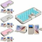 For Samsung Galaxy S6/S6 Edge Crystal Butterfly Bling Wallet Stand Leather Case