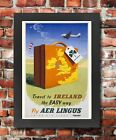 TX33 Vintage 1950's Travel To Ireland Irish Framed Travel Poster Re-Print A3/A4