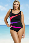 LONGITUDE Plus Size Pink & Black Fan Club Swimsuit *NWT $99