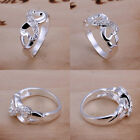 Womens Cubic Zircon 925 Sterling Silver Crystal Band Ring US Size6-10 Jewelry