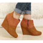WOMEN SHOES CHIC TAN BROWN WEDGE HIGH HEEL ANKLE BOOTS