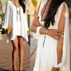 Fashion Womens V-Neck Loose Irregular Hem Casual Summer Chiffon Short BeachDress