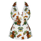 Da Donna Vintage Retro Estate Top Rockabilly Bianco Hawaii Tropicale Da Mare