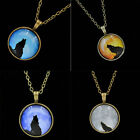 Women Wolf Moon Charm Necklace Glass Dome Pendant Bronze Chain Fashion Jewrlry
