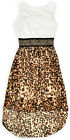 Girls Animal Print Lace Top Kids Summer Sleeveless Dress New Ages 3-12 Years