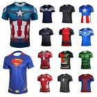 Men's Superhero Costume Tee Captain America Spiderman T-Shirt Sports Jersey New