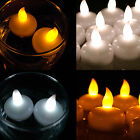 12 White Amber LED Waterproof Floating TeaLight Flameless Candle Wedding Party