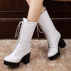 Hot Sale Womens Riding Boots Chunky Heels Platform Lace Up Mid-calf Boots Shoes