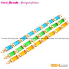 """Rectangle Stone Beads Finished Jewelry Gold Plated Link Bracelet 7""""Colors Pick"""