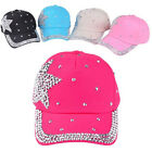 Fashion Boys Girls Unisex Star Shaped Rhinestone Baseball Hat Cap 5 Colors