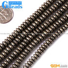"""Rondelle Faceted /Smooth Silver Gray Pyrite Beads Jewelry Making Loose Bead 15"""""""
