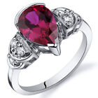 Tear Drop 2.50 cts Ruby Solitaire Engagement Ring Sterling Silver Size 5 to 9