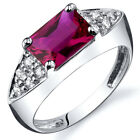 Sleek Sophistication 2.00 cts Ruby CZ Ring Sterling Silver Sizes 5 to 9