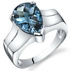 Brilliant 3.25 ct London Blue Topaz Solitaire Ring Sterling Silver Sizes 5 to 9