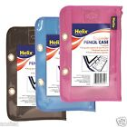 HELIX PVC and Nylon Ringbinder Pencil Case WITH COLOURFUL ZIP Black Blue Purple