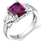 3.00 cts Radiant Cut  Ruby Ring Sterling Silver Size 5 to 9