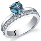Sleek and Sparkling 1.00 cts London Blue Topaz Ring Sterling Silver Size 5 to 9