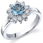 Ornate Floral 0.50 cts London Blue Topaz Ring Sterling Silver Size 5 to 9