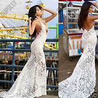 Womens White Floral Lace Floor Full Length Evening Prom Gown Party Evening Dress