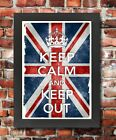 KC38 Framed Vintage Style Union Jack Keep Calm Keep Out Funny Poster A3/A4