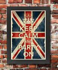 KCV5 Framed Vintage Style Union Jack Keep Calm Party On Funny Poster A3/A4