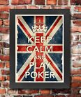 KCV18 Framed Vintage Style Union Jack Keep Calm Play Poker Funny Poster A3/A4