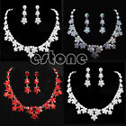 New Fashion Bridal Wedding Women Flower Crystal Jewelry Set Hot Necklace Pendant