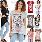 Womens Ladies Floral Butterflies Oversized Baggy High Low T Shirt Top Plus Size