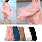 PLE - Elastic Waistband Women Chiffon Pleated Retro Vintage Maxi Long Skirt