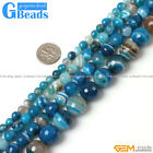 Round Gemstone Blue Stripe Agate Faceted Beads Jewelry Making Free Shipping 15""