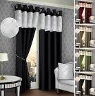 One Pair Fully Lined Ring Top Ready made Eyelet Curtains Black Chocolate Beige