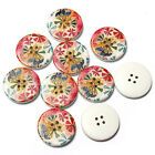 10~30 Mixed Wooden Wood Print Flower Sewing DIY Craft 4 Holes Round Buttons 30mm