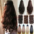 Long New Straight Wavy Curly One Piece Half Full Head Clip in on Hair Extensions