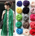 Candy Colors Womens Girls Soft Long Crinkle Scarves Wrap Voile Wraps Stole Shawl