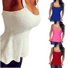 Women Sleeveless Backless Peplum T-Shirt Low-cut Blouse Tank Top Plus Size 8-22