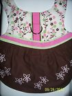 DOG CAT FERRET Custom Harness Dress PINK & BROWN Floral Print with Embroidery
