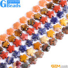 Natural Assorted Stones 15mm Flower Beads For Jewelry Making Free Shipping 15""