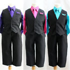 Boy solid black vest and tie purple fuchsia turquoise blue ring bearer party