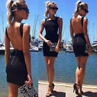 Trendy Lady Summer Black Backless Evening Party Cocktail Beach Dress Sundresses