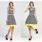 High quality Summer Stripe Evening Party Casual Short Mini Dress USWB